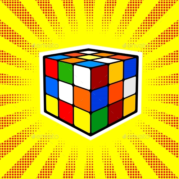 Rubik Cube Comic Book Style Vector - Backgrounds Decorative