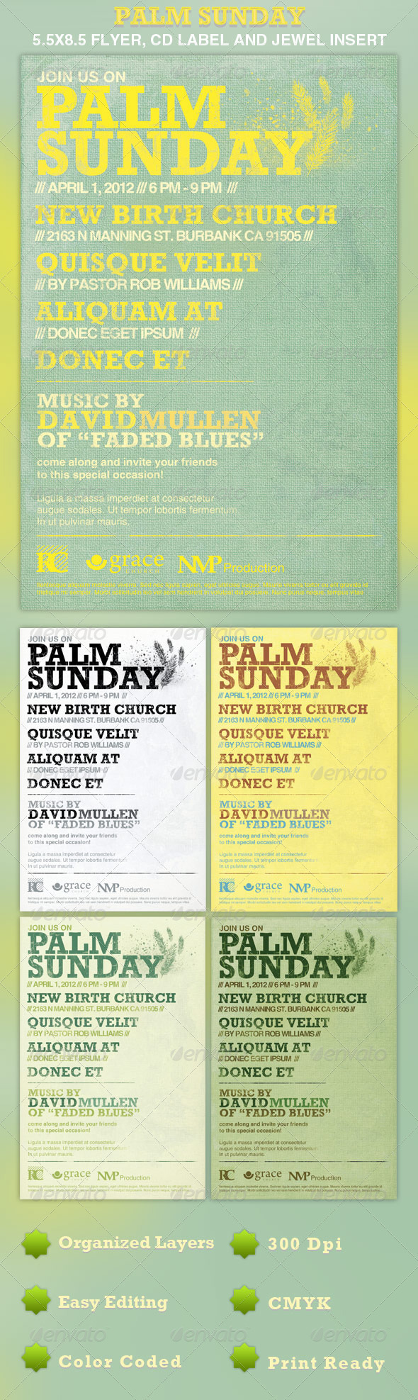 Palm Sunday Flyer Template - Church Flyers
