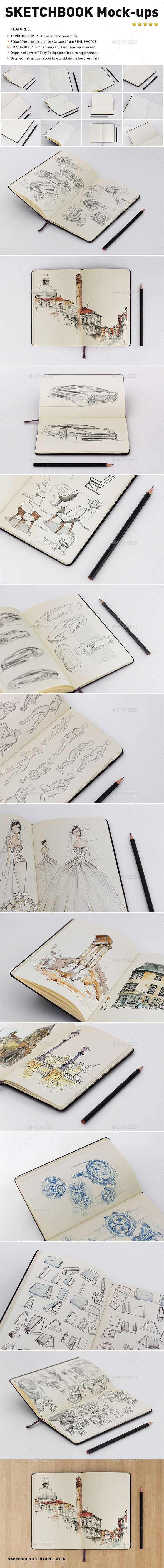 Photorealistic Sketch Book Mockups - Product Mock-Ups Graphics