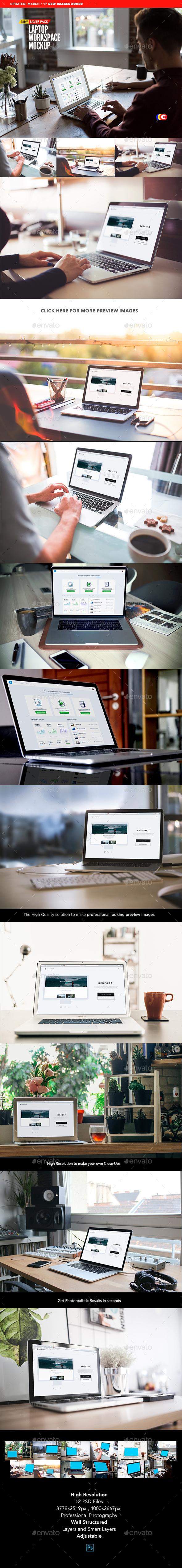 Laptop Display Mock-Up | Workspace Edition - Laptop Displays