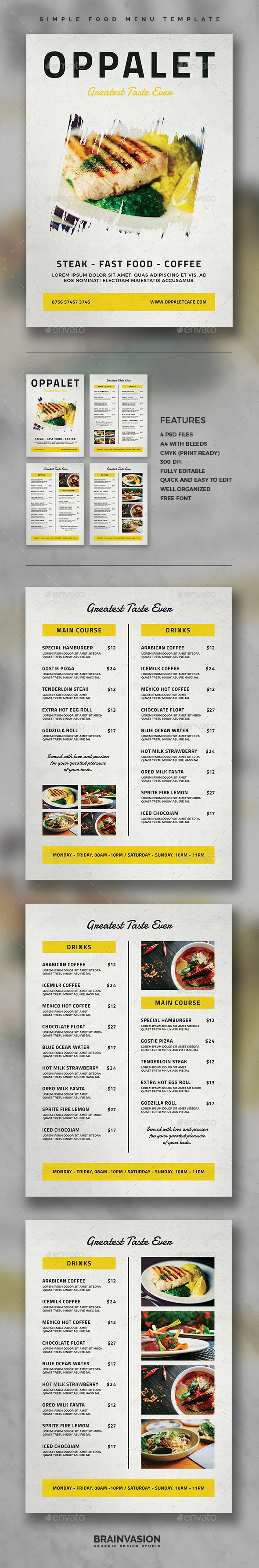 Simple Food Menu Template - Food Menus Print Templates