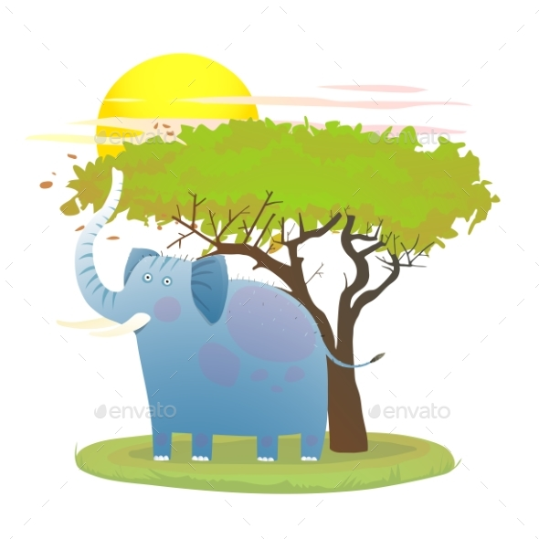 Blue Baby Elephant in Nature with Tree and Sun - Animals Characters