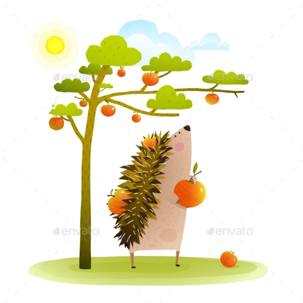 Farm Hedgehog Near Apple Tree Harvesting - Animals Characters