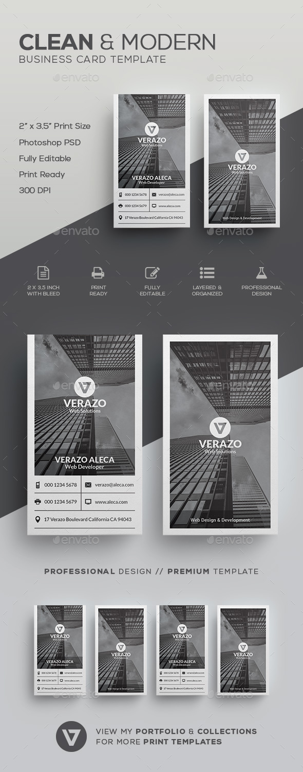Clean Monotone Business Card Template - Corporate Business Cards