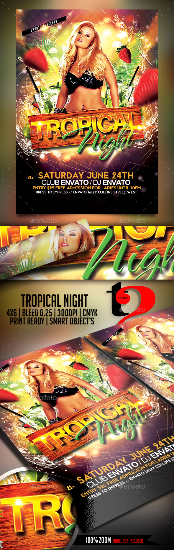 Tropical Night Flyer - Clubs & Parties Events