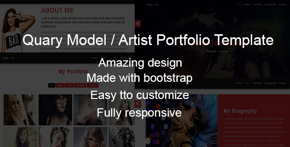 Quary-Model/Artist Portfolio Template - Personal Site Templates