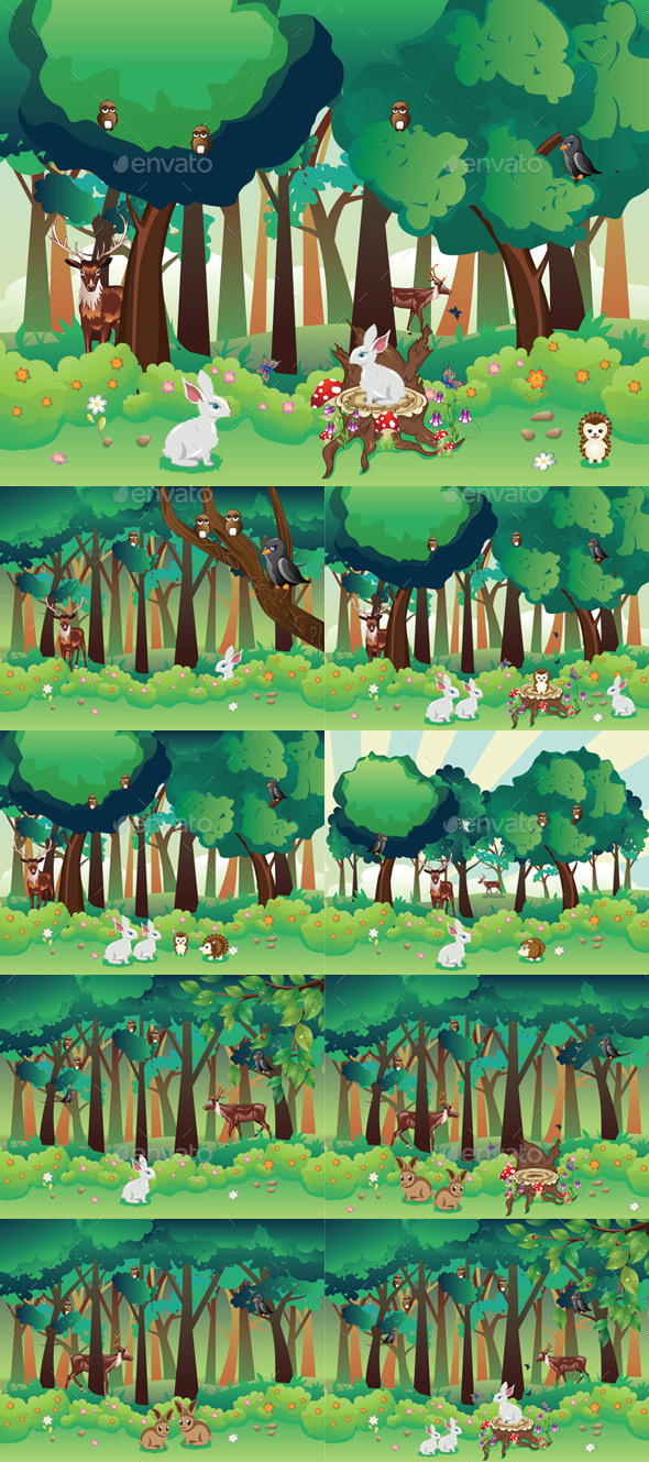Summer Forest and Animals - Animals Characters