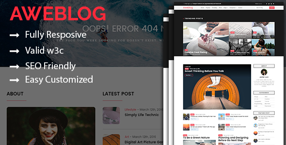 Aweblog - Responsive Personal Blog HTML Template - Personal Site Templates