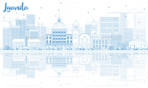 Outline Luanda Skyline with Blue Buildings and Reflections. - Buildings Objects