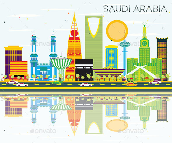 Saudi Arabia Skyline with Color Landmarks and Reflections. - Buildings Objects