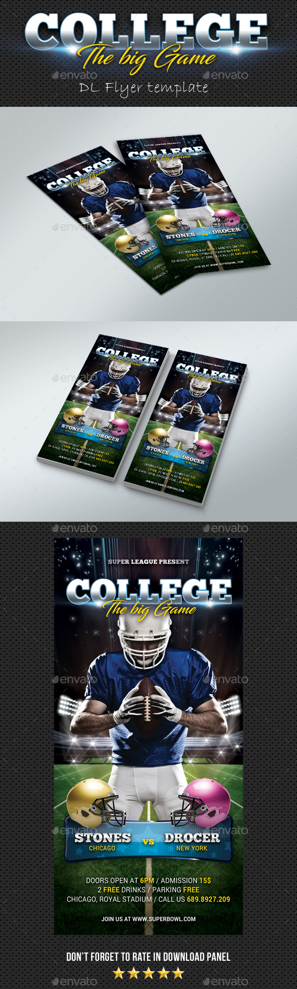 DL American Football Flyer - Sports Events