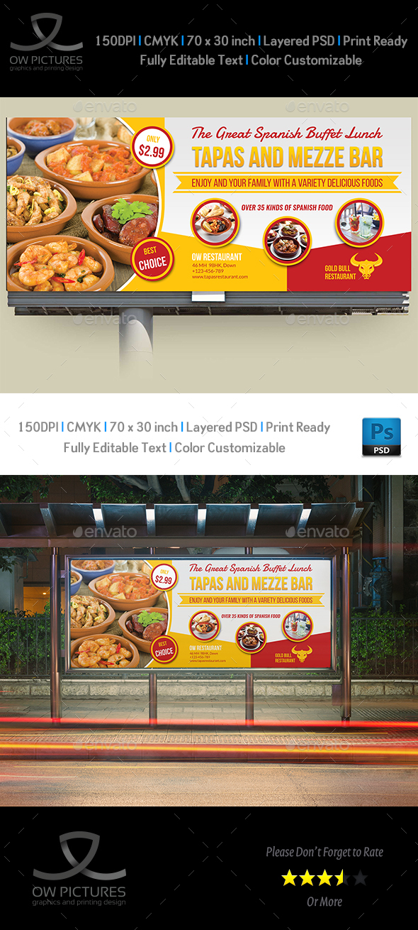 Restaurant Billboard Template Vol.10 - Signage Print Templates