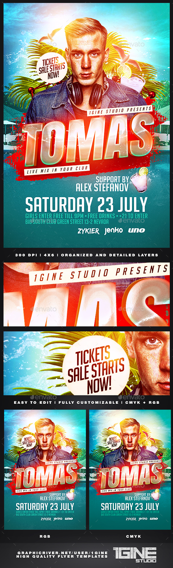 Summer DJ Flyer Template - Clubs & Parties Events