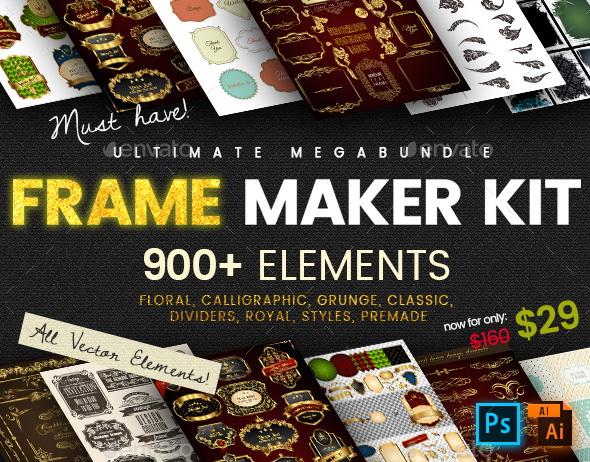 Frame Maker Kit | 900+ elements - Borders Decorative