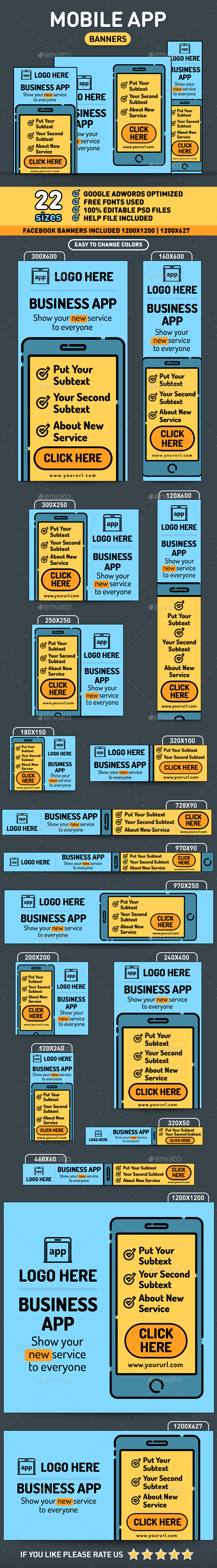 Mobile App Flat Banners - Banners & Ads Web Elements
