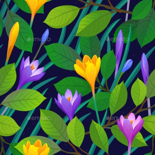 Floral Seamless Pattern with Crocuses. - Patterns Decorative