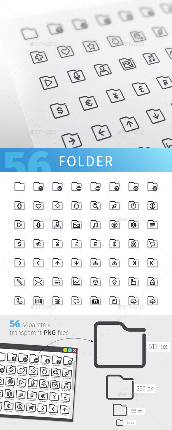 Folder Line Icons Set - Objects Icons