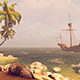 An Old Sailing Ship Off The Coast Of The Tropical Island - VideoHive Item for Sale