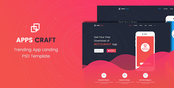 Apps Craft – App Landing PSD Template