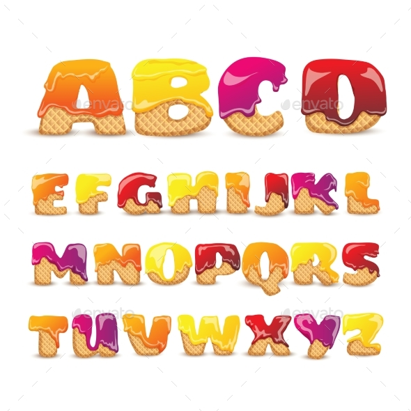 Coated Wafers Sweet Alphabet Letters Set - Food Objects