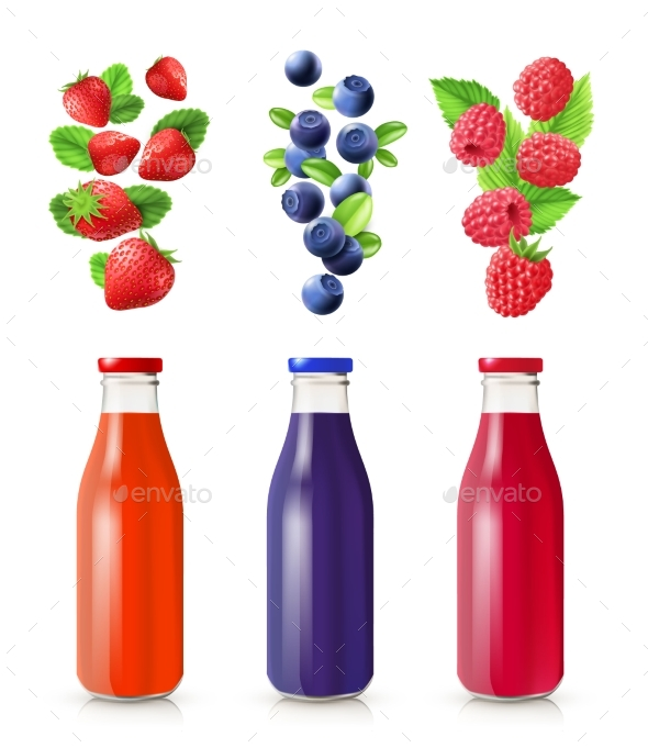 Berry Juice Realistic Set - Nature Conceptual