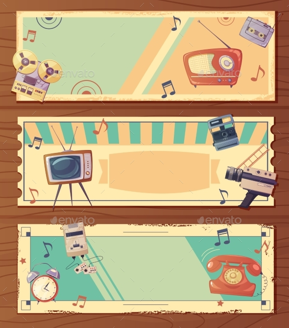 Retro Devices Horizontal Banners - Backgrounds Decorative