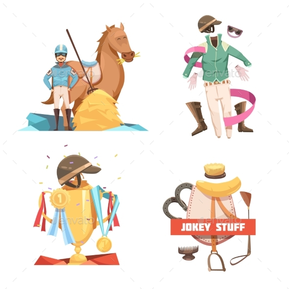 Horse Riding Retro Cartoon Compositions - Sports/Activity Conceptual