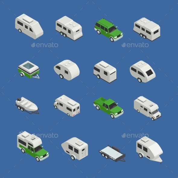 Recreational Vehicles Isometric Icons Set - Travel Conceptual