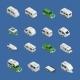 Recreational Vehicles Isometric Icons Set