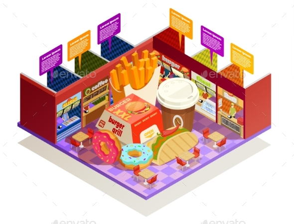 Food Court Interior Elements Isometric Composition - Food Objects
