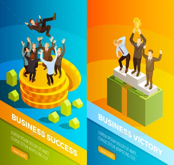 Successful Business People Celebration Isometric - Concepts Business