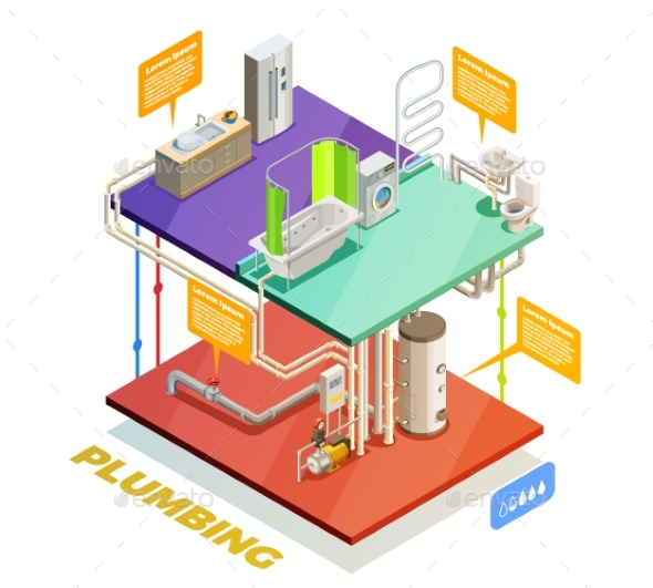 Plumbing Water Heating System Isometric View - Buildings Objects