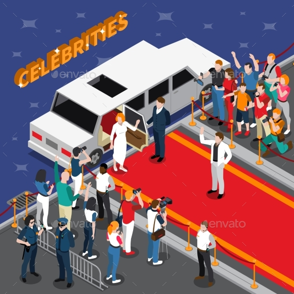Celebrities on Red Carpet Isometric Composition - People Characters