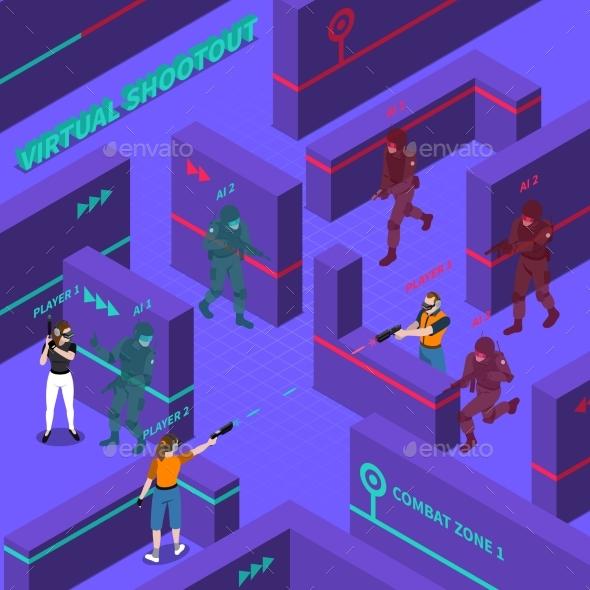 Virtual Gun Battles Isometric Illustration - Sports/Activity Conceptual