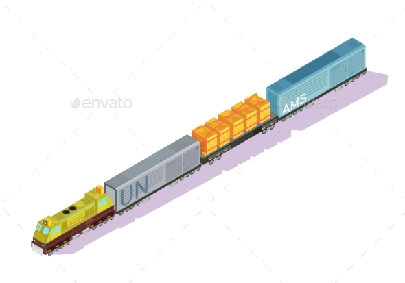 Railroad Train Isometric Composition - Miscellaneous Vectors