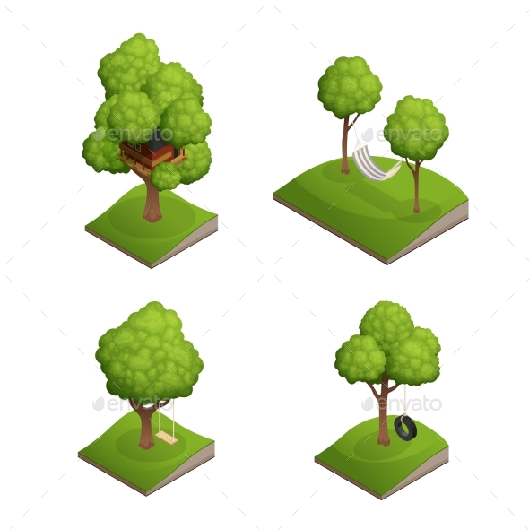 Tree Swing Icon Set - Landscapes Nature