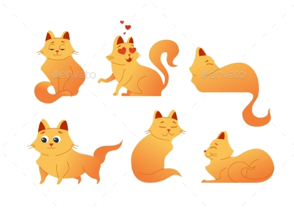 Kitty Cat - Modern Vector Set of Flat - Animals Characters
