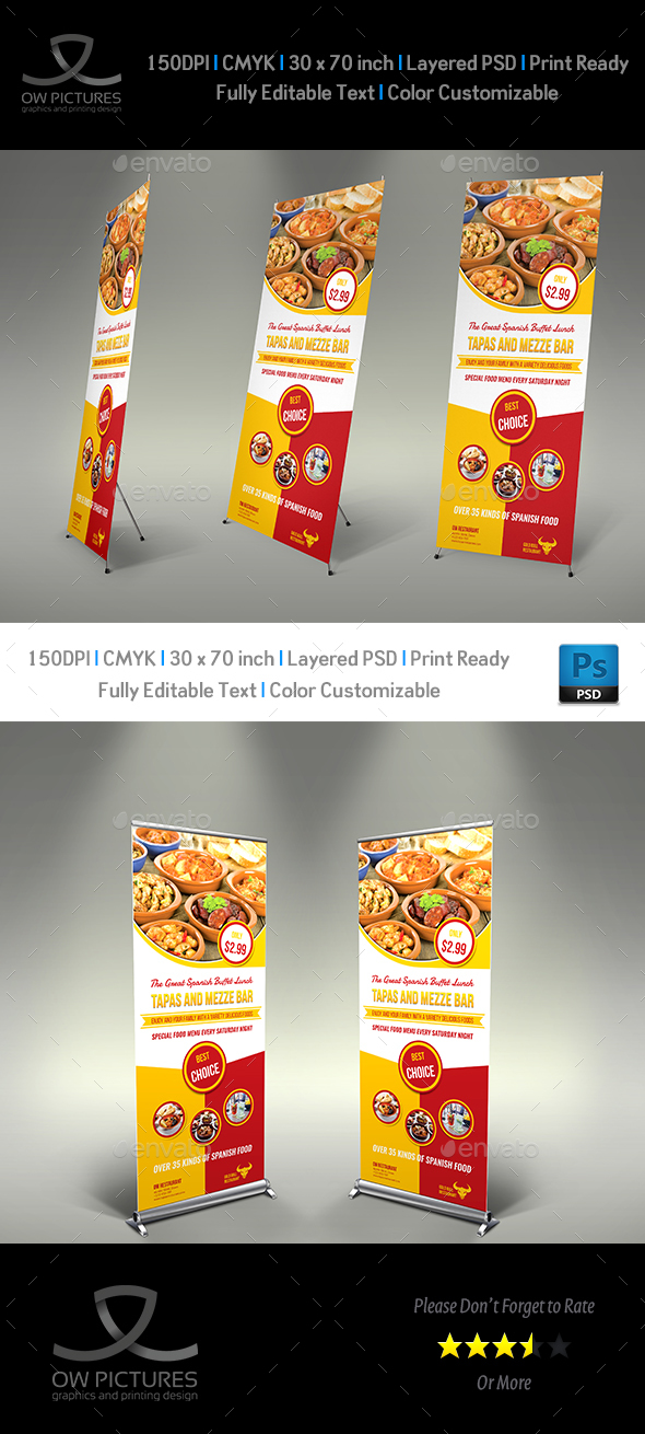 Restaurant  Roll Up Signage Template Vol.10