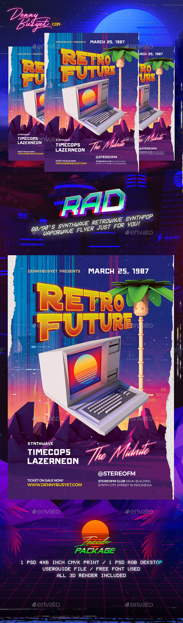 Retro Future 80's Synthwawve Flyer - Events Flyers