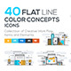 Set of Modern Flat Line Color Conceptual Icons - GraphicRiver Item for Sale
