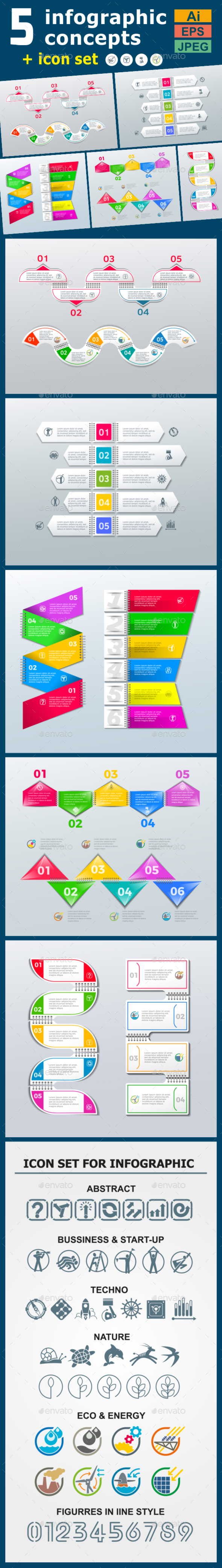 Infographic Templates in Paper Style. v.05 - Infographics