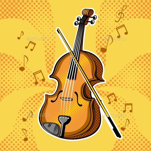 Violin Musical Instrument Vector Illustration - Backgrounds Decorative
