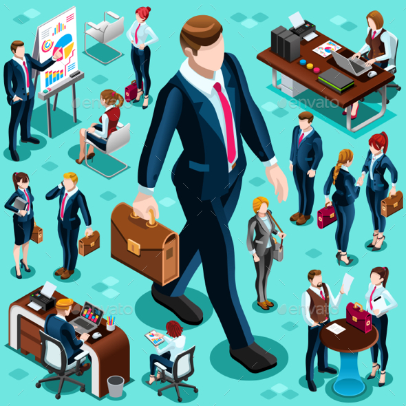 Isometric Isolated Business People Icon Set - People Characters