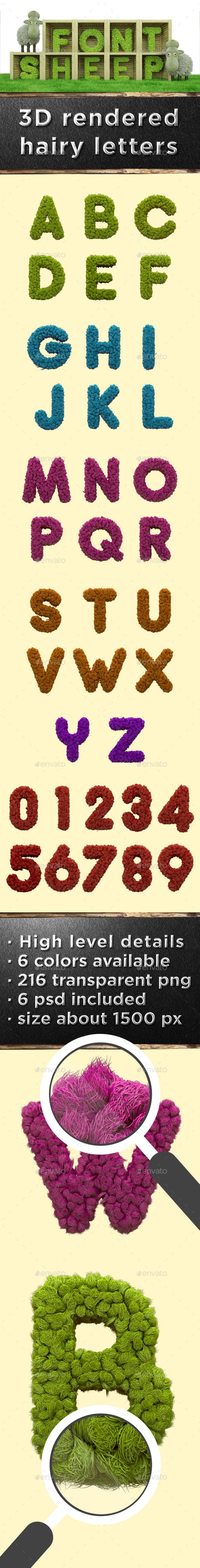 Sheep Font (6 PSD, 216 PNG) - Text 3D Renders