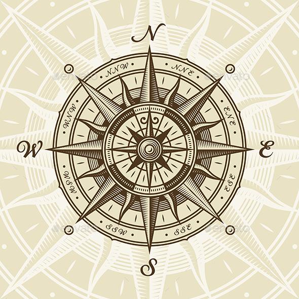 Vintage Nautical Compass Rose - Travel Conceptual