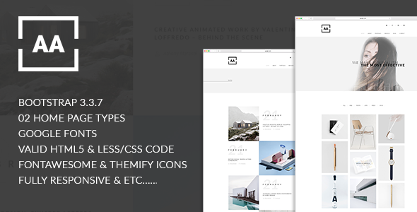 AA – Creative, Minimal, Stunning Designed Responsive HTML5 Portfolio Template