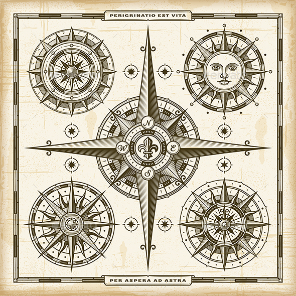 Vintage Compass Roses Set - Decorative Symbols Decorative