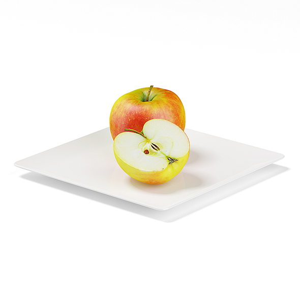 Apples on White Plate - 3DOcean Item for Sale