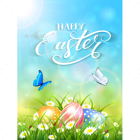 Blue Background with Butterflies and Three Easter Eggs in Grass - Seasons Nature