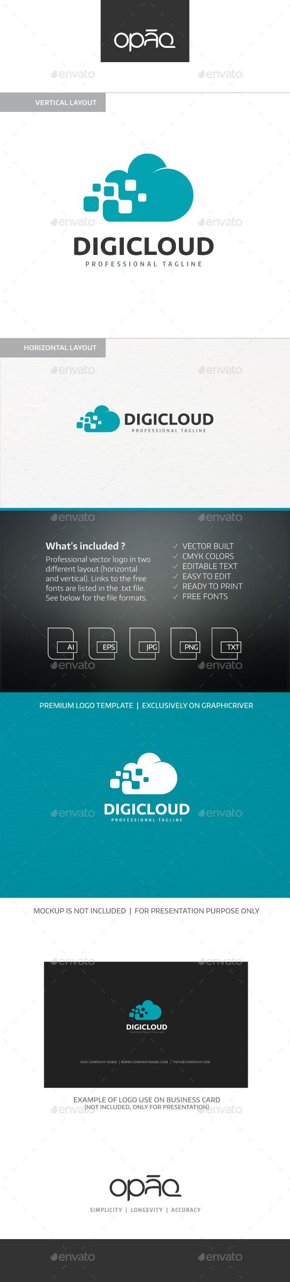 Digital Cloud Logo - Symbols Logo Templates
